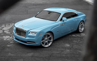 Rolls-Royce Wraith, tuning, 2018 cars, Forgiato Wheels, blue Wraith, luxury cars, Rolls-Royce
