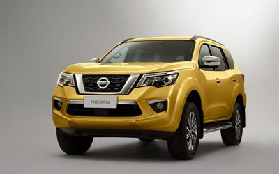 Nissan Terra, 4k, studio, 2018 cars, SUVs, yellow Terra, japanese cars
