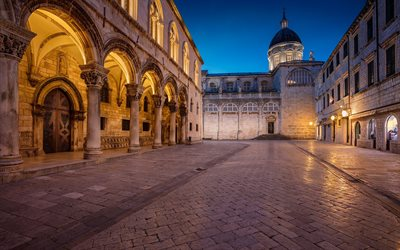 Dubrovnik Cathedral, The Assumption Cathedral, Roman Catholic cathedral, evening, Baroque architecture, Dubrovnik, Croatia