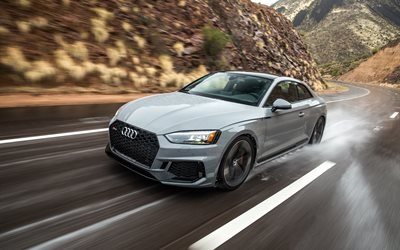 Audi RS5 Coupe, 2019, 4k, front view, sports coupe, exterior, new gray RS5 Coupe, rain riding concepts, German cars, rain, wet road, Audi