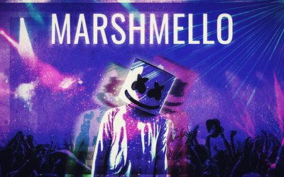 DJ Marshmello, fan art, 4k, DJ, superstars, Marshmello DJ, guys, Marshmello