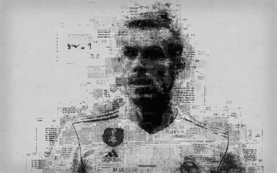 Gareth Bale, art, 4k, portrait, newspaper art, face, typography, poster, Welsh footballer, portrait letters, Real Madrid, Spain, La Liga