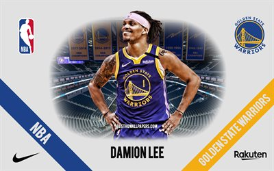 Damion Lee, Golden State Warriors, Giocatore di Basket Americano, NBA, ritratto, stati UNITI, basket, Caccia Center, Golden State Warriors logo