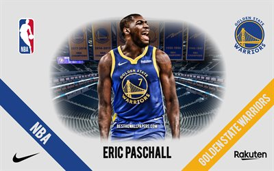Eric Paschall, Golden State Warriors, Giocatore di Basket Americano, NBA, ritratto, stati UNITI, basket, Caccia Center, Golden State Warriors logo