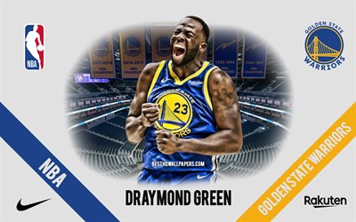 Draymond Green, Golden State Warriors, Giocatore di Basket Americano, NBA, ritratto, stati UNITI, basket, Caccia Center, Golden State Warriors logo