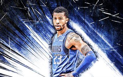 4k, Trey Burke, grunge art, Dallas Mavericks, NBA, basketball, Alfonso Clark Burke III, USA, Trey Burke Dallas Mavericks, blue abstract rays, Trey Burke 4K