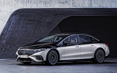 2022, Mercedes-Benz EQS, 4k, exterior, front view, electric luxury car, electric S-class, new white EQS, german cars, Mercedes