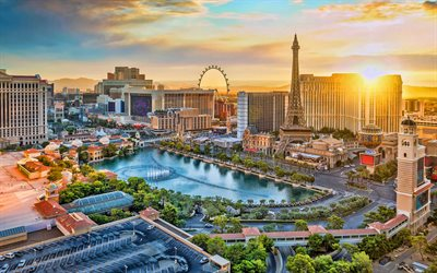 Las Vegas, 4k, evening, sunset, Bellagio, MGM Grand, Las Vegas skyline, Las Vegas cityscape, Nevada, Las Vegas panorama, USA
