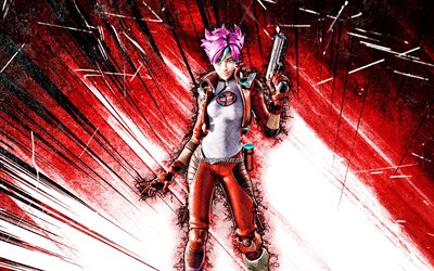 4k, Mika, art grunge, Fortnite Battle Royale, personnages Fortnite, rayons abstraits rouges, peau de Mika, Fortnite, Mika Fortnite