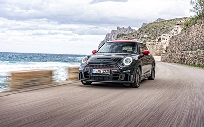 2022, Mini John Cooper Works, 4k, front view, exterior, new black Mini Cooper, British cars, Mini