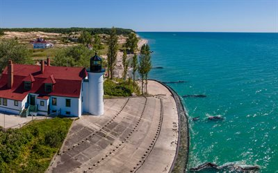 Point Betsie Lighthouse, Lake Michigan, coast, overhead view, lighthouse, Frankfort, Michigan, USA