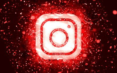 Instagram red logo, 4k, red neon lights, creative, red abstract background, Instagram logo, social network, Instagram