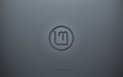 Linux Mint logo, gray creative background, Linux Mint emblem, gray paper texture, Linux Mint, gray background, Linux Mint 3d logo
