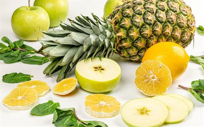 tropical fruits, pineapple, carom, carambola, lemons, apples, healthy food concepts, vitamins concepts