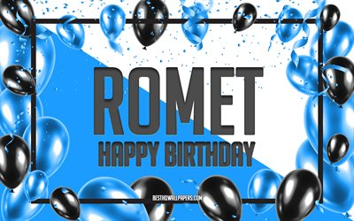 Happy Birthday Romet, Birthday Balloons Background, Romet, wallpapers with names, Romet Happy Birthday, Blue Balloons Birthday Background, Romet Birthday