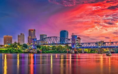 Little Rock, Arkansas, evening, sunset, Little Rock cityscape, Little Rock skyline, USA