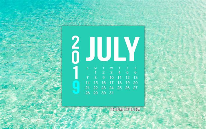 Calendario 31 Luglio 2019.Scarica Sfondi Luglio 2019 Calendario Azure Calendario