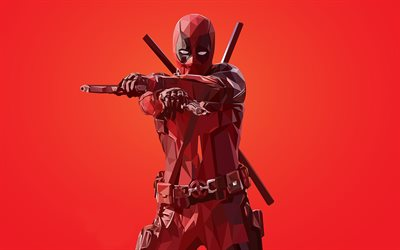 Deadpool, superhero, polygon style, red background, creative art