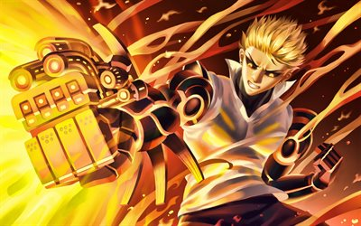 Genos, battle, manga, artwork, One-Punch Man, guy with yellow eyes