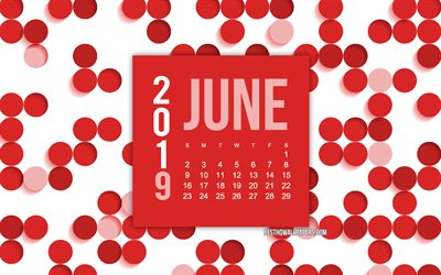 2019 June calendar, red abstract background, calendar for June 2019, red dots background, 2019 calendars, June, creative red background