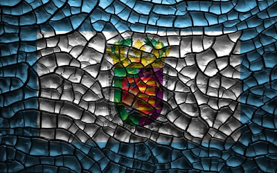 Flag of Malaga, 4k, spanish provinces, cracked soil, Spain, Malaga flag, 3D art, Malaga, Provinces of Spain, administrative districts, Malaga 3D flag, Europe