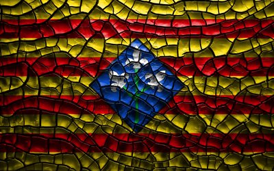 Flag of Lleida, 4k, spanish provinces, cracked soil, Spain, Lleida flag, 3D art, Lleida, Provinces of Spain, administrative districts, Lleida 3D flag, Europe
