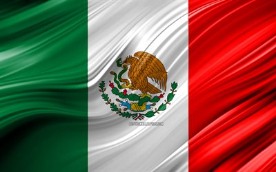 4k, Mexican flag, North American countries, 3D waves, Flag of Mexico, national symbols, Mexico 3D flag, art, North America, Mexico