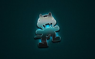 Monstercatglitter logo, music brands, creative, blue metal background, Monstercat logo, brands, superstars, Monstercat
