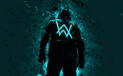 4k, Alan Walker, music stars, turquoise neon lights, DJ Alan Walker, back view, DJs, superstars, Alan Olav Walker, Alan Walker 4K, fan art
