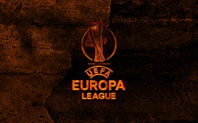 uefa-europa-league-fiery-logo, fußball-ligen, der orange stein hintergrund, uefa europa league, kreativ, uefa europa league logo, marken, europa league logo