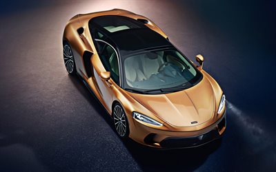 2020, McLaren GT, 4k, front view from above, bronze supercar, British luxury cars, exterior, sports coupe, McLaren