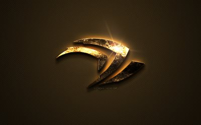 Nvidia gold logo, creative art, Nvidia gold emblem, creative gold background, gold carbon fiber texture, Nvidia