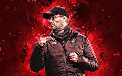 Jurgen Klopp, 4k, german football coach, 2019, Liverpool FC, abstract art, soccer, Jurgen Norbert Klopp, Premier League, football, LFC, neon lights, England, Jurgen Klopp 4k