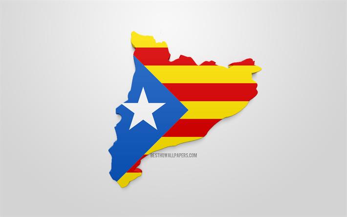 Lataa Kuva 3d Lippu Katalonian Estelada Kartta Siluetti Estelada
