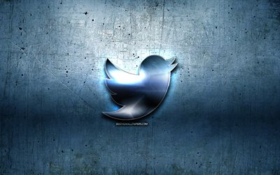 Twitter metal logo, blue metal background, artwork, Twitter, brands, Twitter 3D logo, creative, Twitter logo