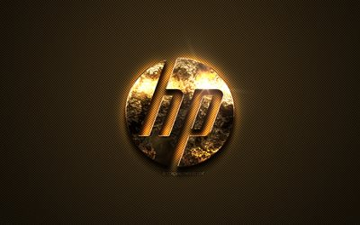 HP gold logo, Hewlett-Packard, creative art, gold texture, brown carbon fiber texture, HP gold emblem, HP