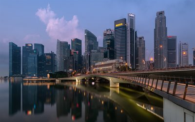 Dhoby Ghaut, Central Region, Singapore, evening, sunset, skyscrapers, modern buildings