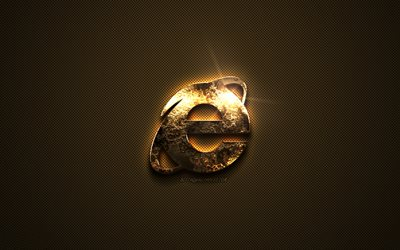 IE gold logo, Internet Explorer, creative art, gold texture, brown carbon fiber texture, IE gold emblem, IE, Internet Explorer gold logo