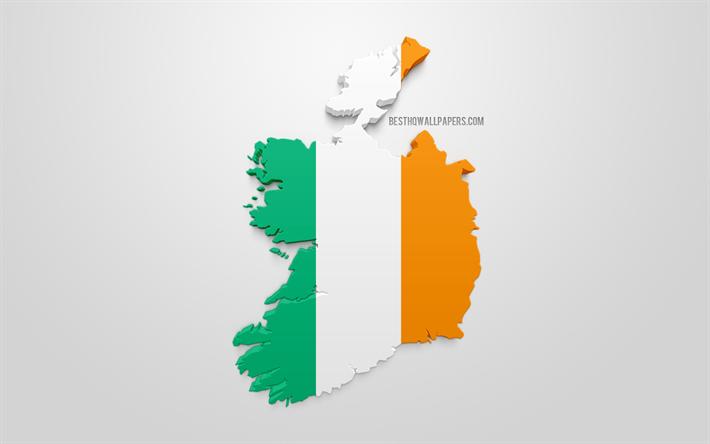 Lataa Kuva 3d Lippu Irlanti Kartta Siluetti Irlanti 3d Art