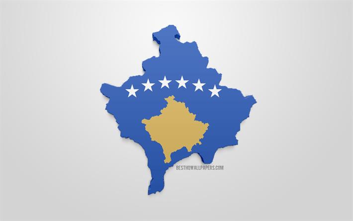 Lataa Kuva 3d Lippu Kosovon Kartta Siluetti Kosovo 3d Art