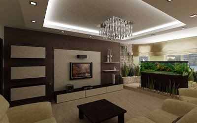 stylish interior design for living room, brown living room, large aquarium in the room, modern interior design
