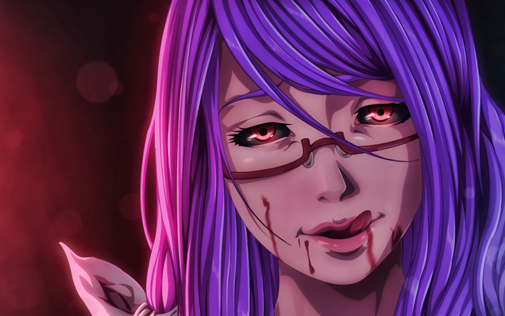 Download wallpapers Rize Kamishiro, girl with red eyes