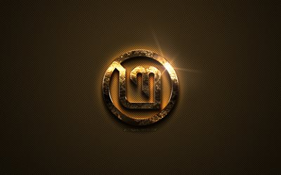 Linux Mint gold logo, creative art, Linux, gold texture, brown carbon fiber texture, Linux Mint gold emblem, Linux Mint