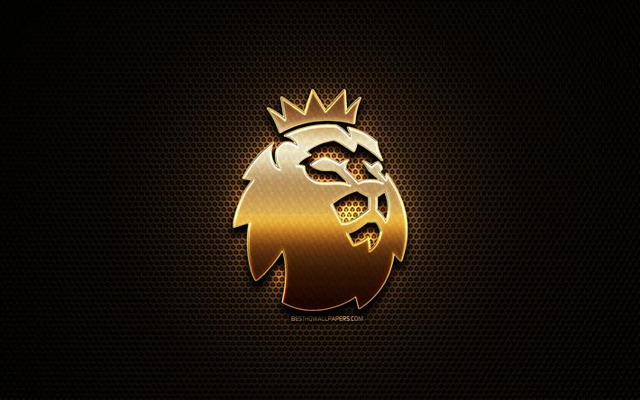 Download Wallpapers Premier League Glitter Logo Football Leagues Creative Metal Grid Background Premier League Logo English Football League Brands Premier League For Desktop Free Pictures For Desktop Free