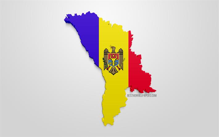 Lataa Kuva 3d Lippu Moldova Kartta Siluetti Moldova 3d Art