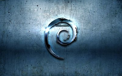 Debian metal logo, blue metal background, Linux, artwork, Debian, brands, Debian 3D logo, creative, Debian logo
