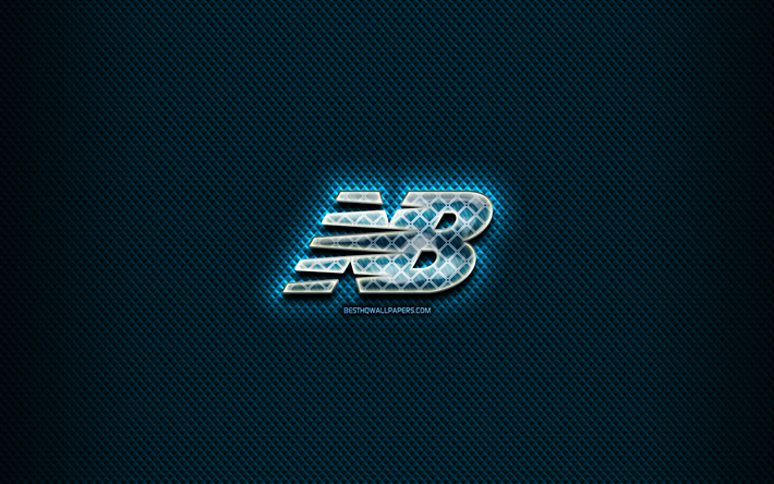 ładne buty najlepszy design nowy przyjeżdża Download wallpapers New Balance glass logo, blue background ...