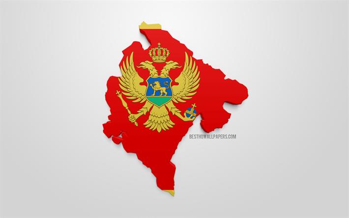 Lataa Kuva 3d Lippu Montenegro Kartta Siluetti Montenegro 3d Art