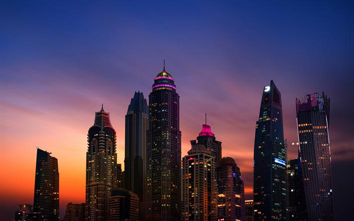 Download Wallpapers 4k Dubai Marina Sunset Modern