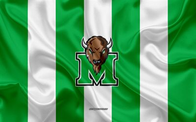 Marshall Tonnerre Troupeau, l'équipe de football Américain, l'emblème, le drapeau de soie, vert et blanc, soie, texture, NCAA, Marshall Tonnerre Troupeau logo, Huntington, West Virginia, états-unis, le football Américain